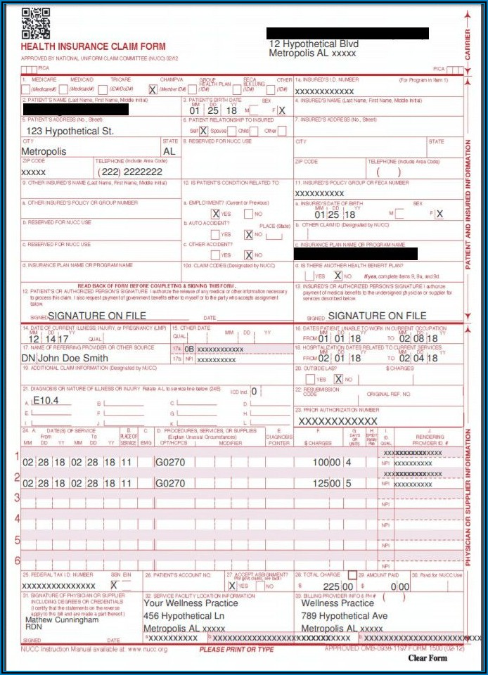 Form 1500 Fillable