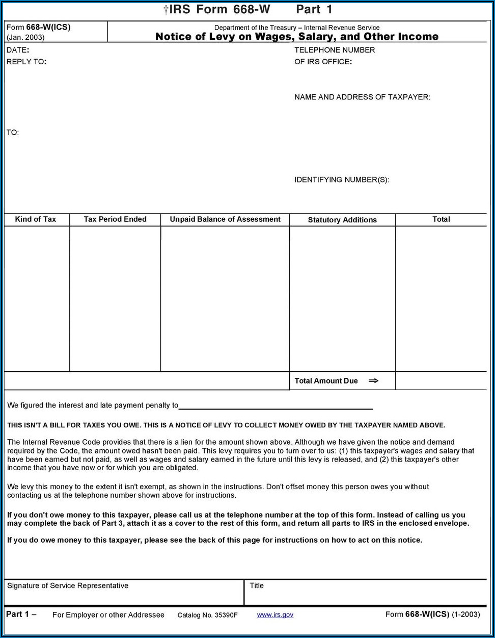 Form 668(a) Notice Of Federal Tax Lien