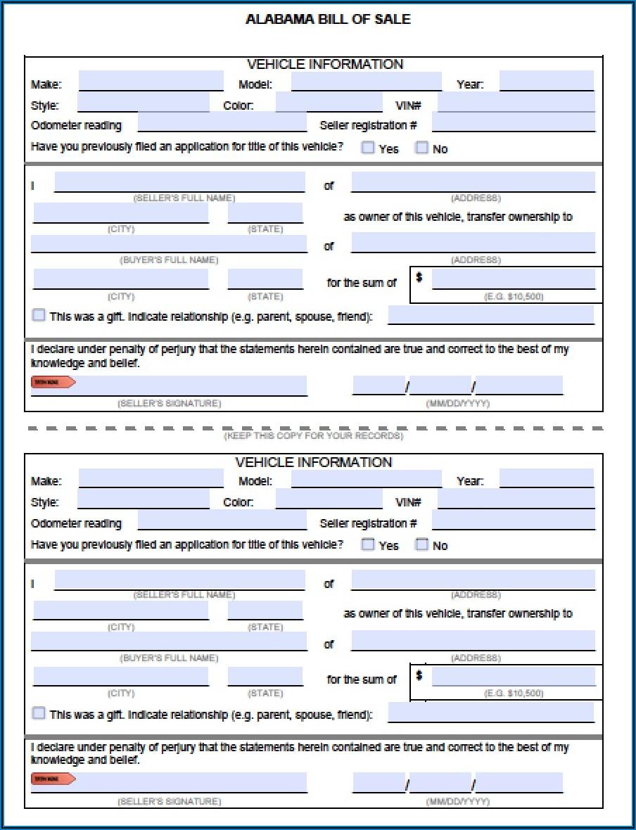 Free Alabama Automobile Bill Of Sale Form