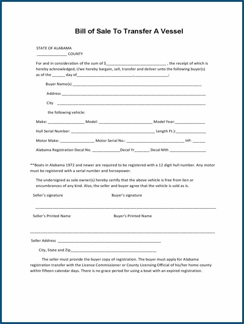 Free Bill Of Sale Form Alabama