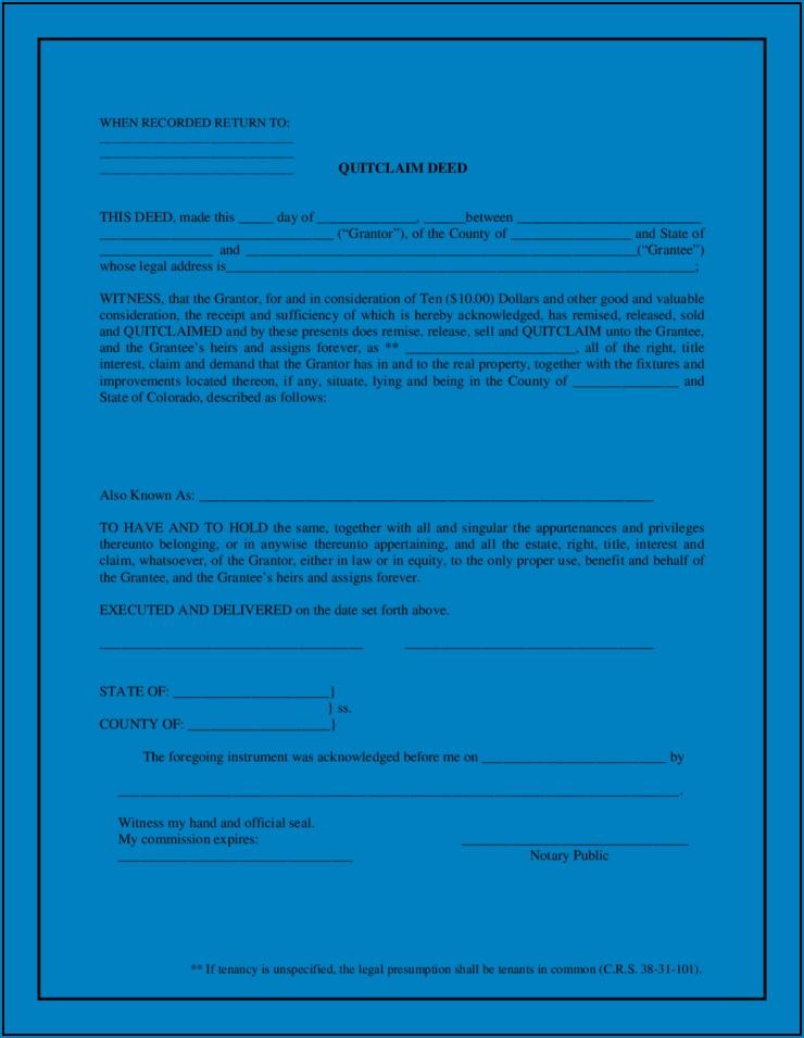 Free Colorado Quitclaim Form