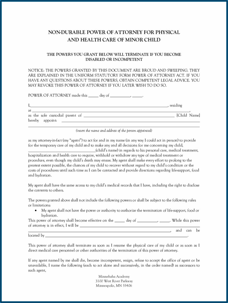 Free Durable Power Of Attorney For Health Care Forms To Print