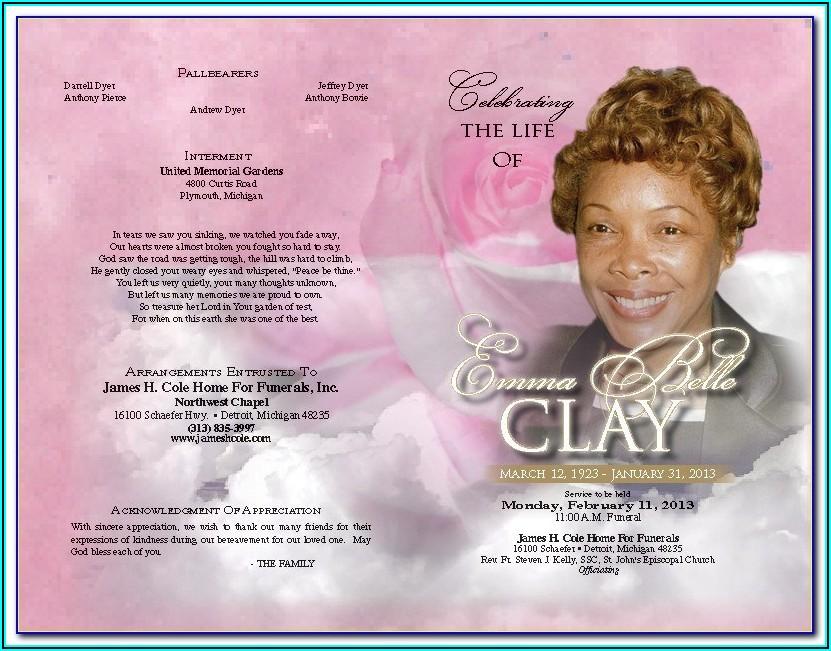 Free Editable Funeral Program Template Publisher