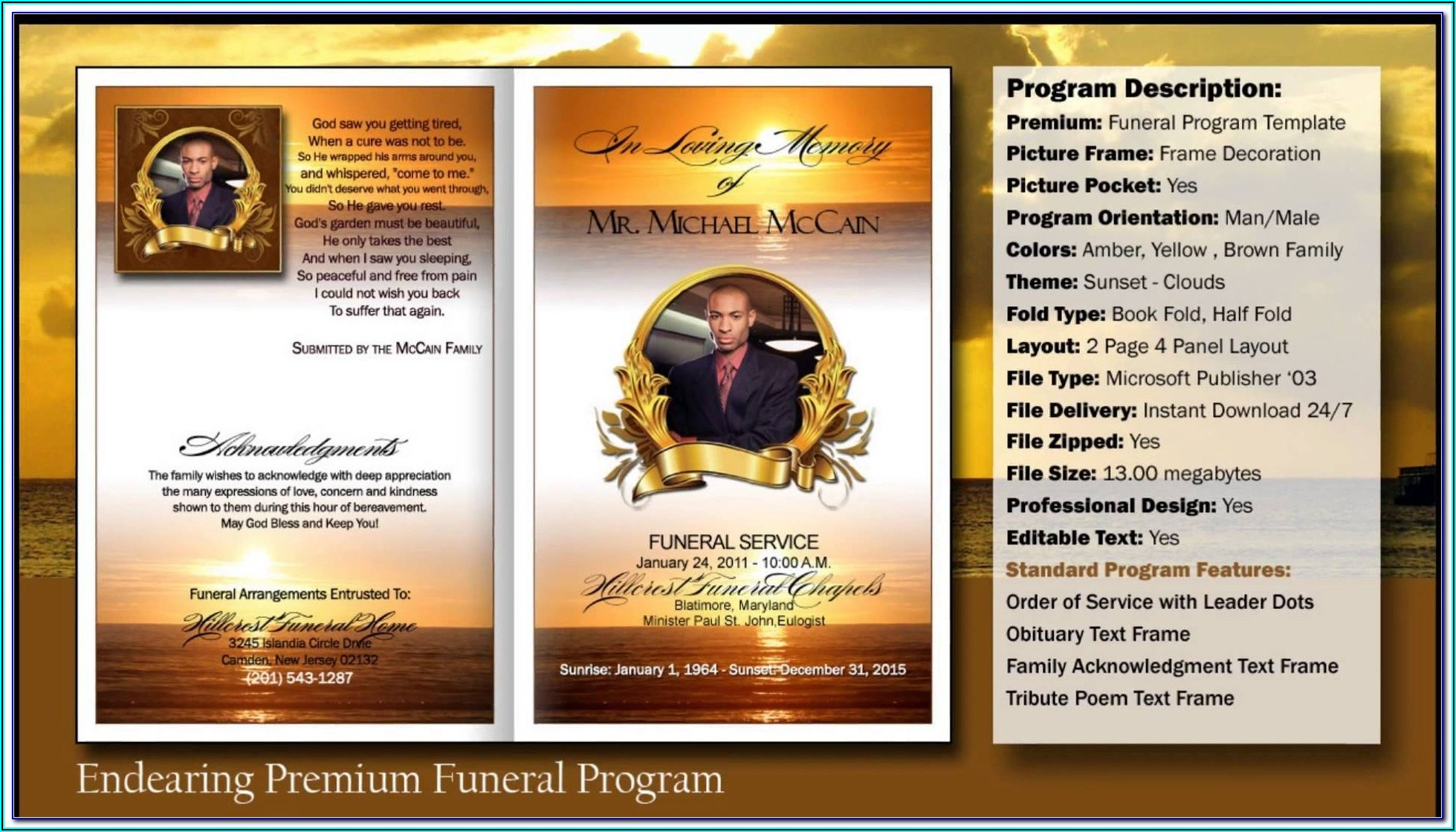 Free Funeral Service Program Template Publisher