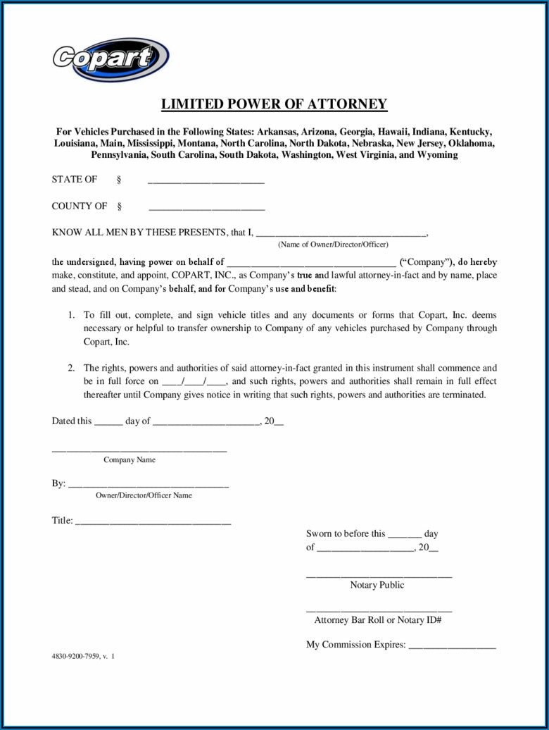 Free Limited Power Of Attorney Form Pdf