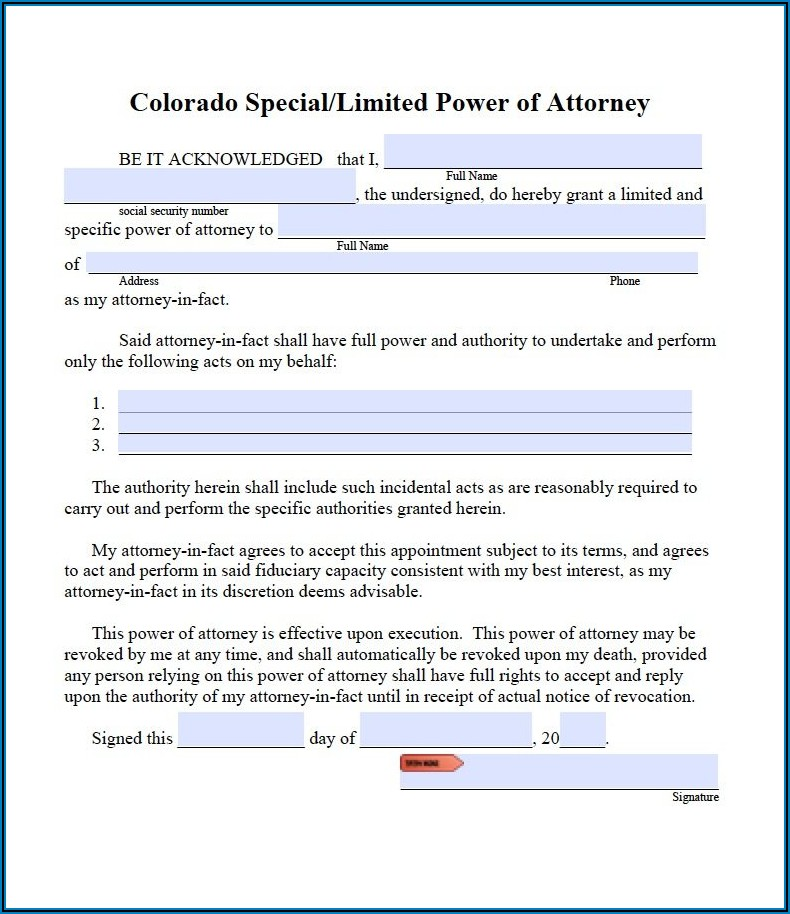 Free Limited Power Of Attorney Forms To Print