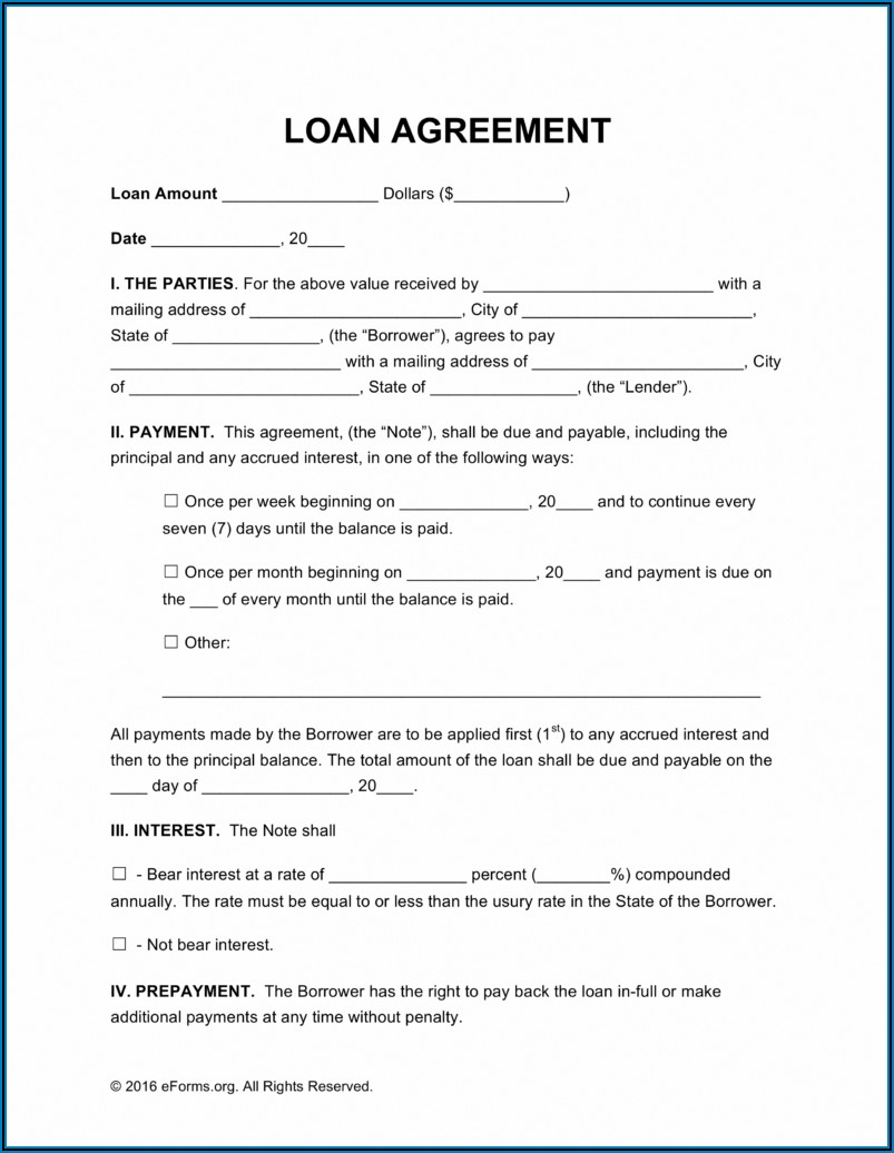 Free Loan Agreement Forms Templates