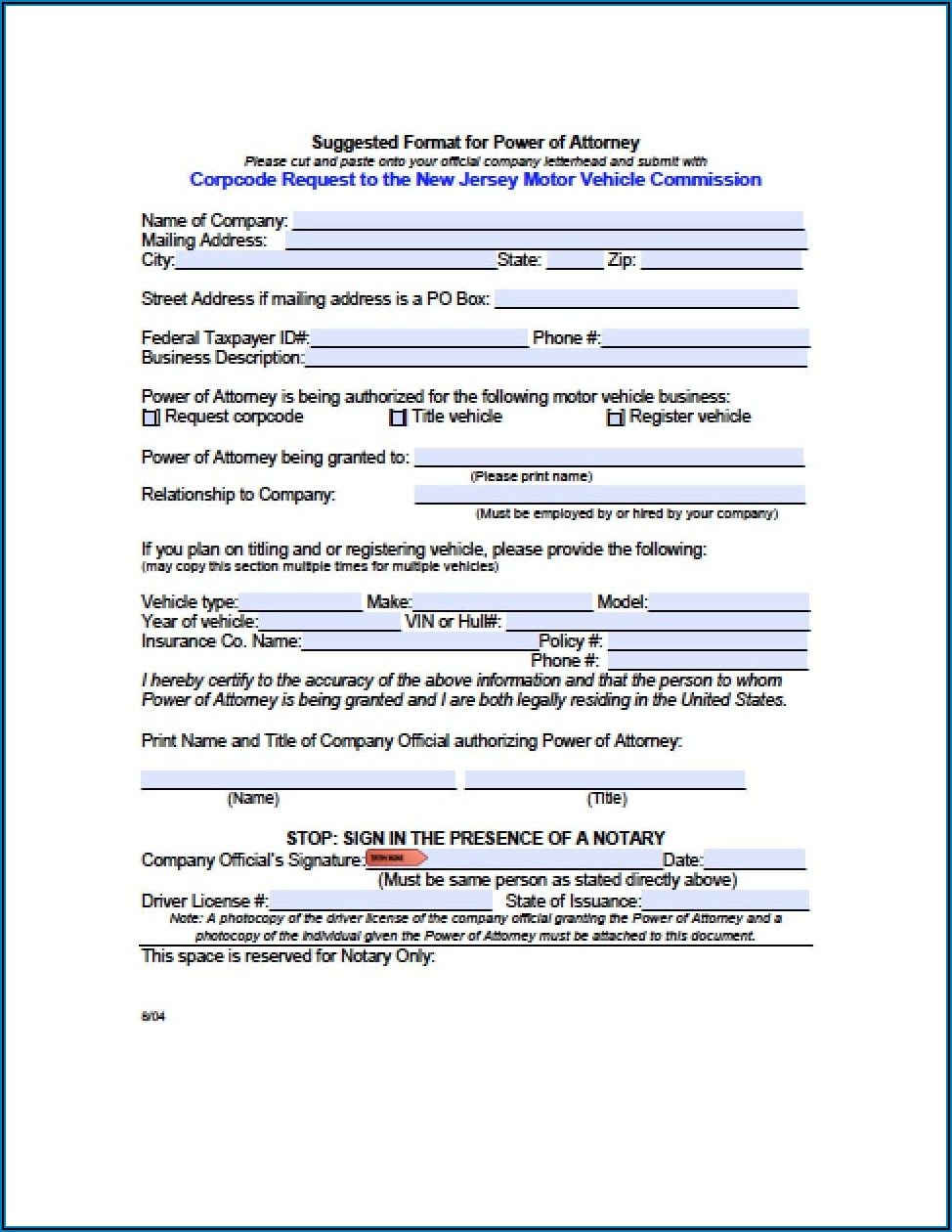 Free Medical Power Of Attorney Form New Jersey
