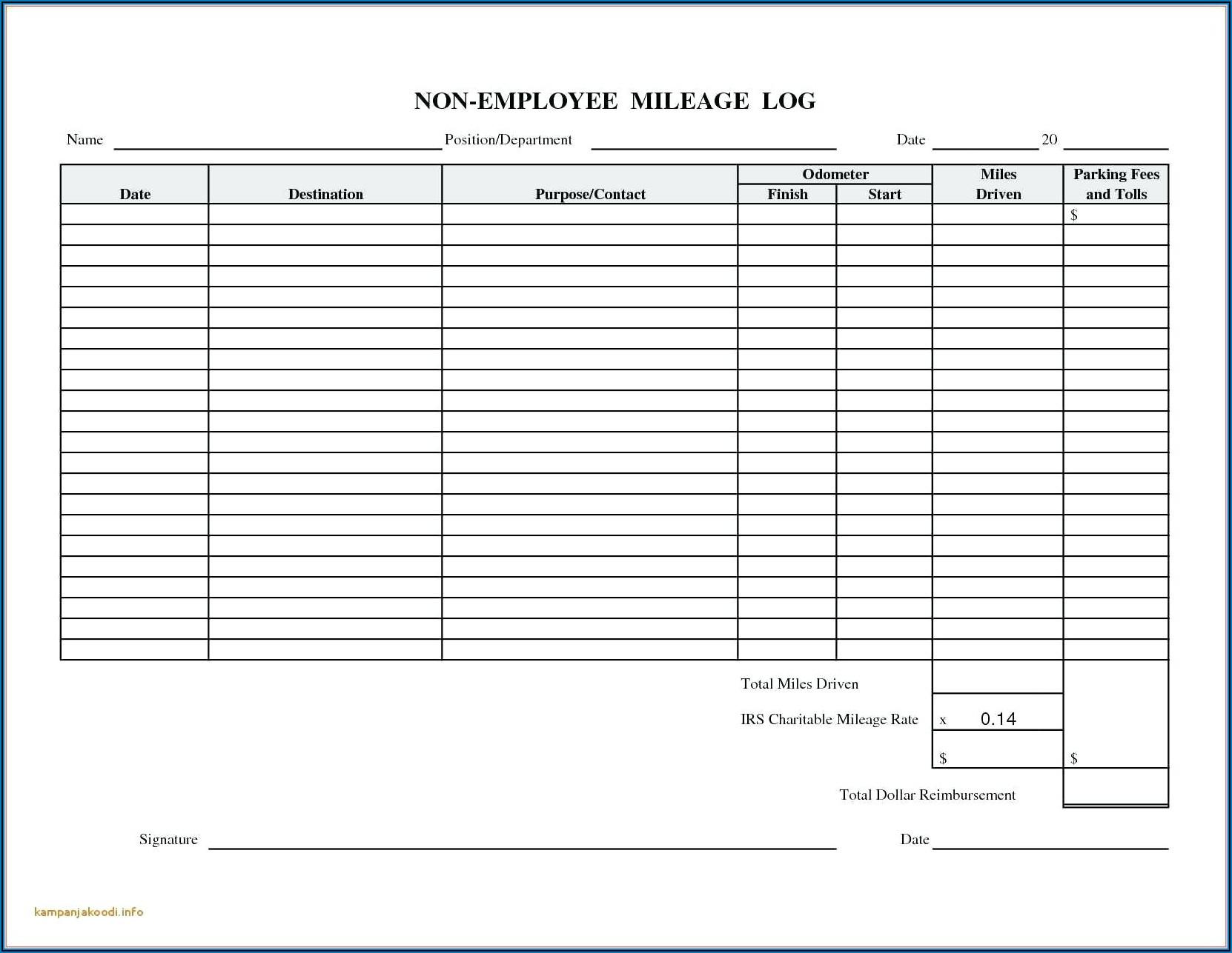 Free Mileage Log Spreadsheet