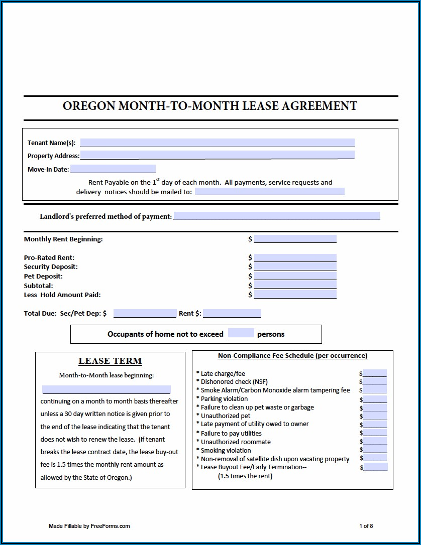 Free Month To Month Rental Lease Agreement Forms