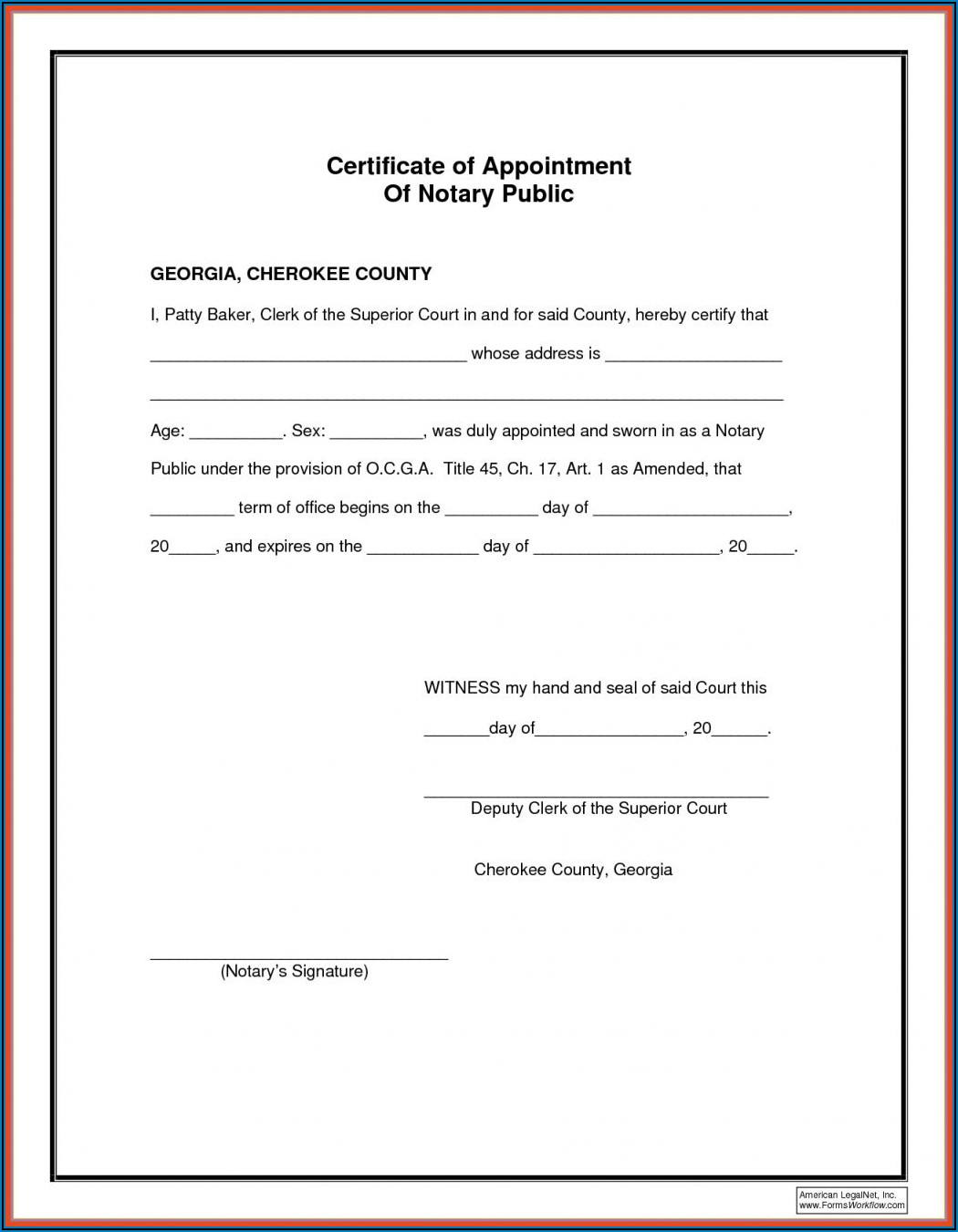 Free Nc Notary Acknowledgement Form
