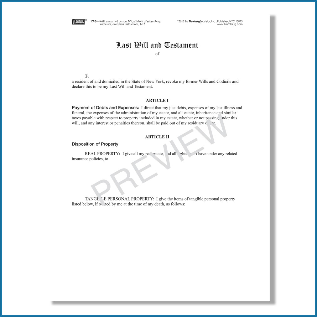 Free New York State Last Will And Testament Form