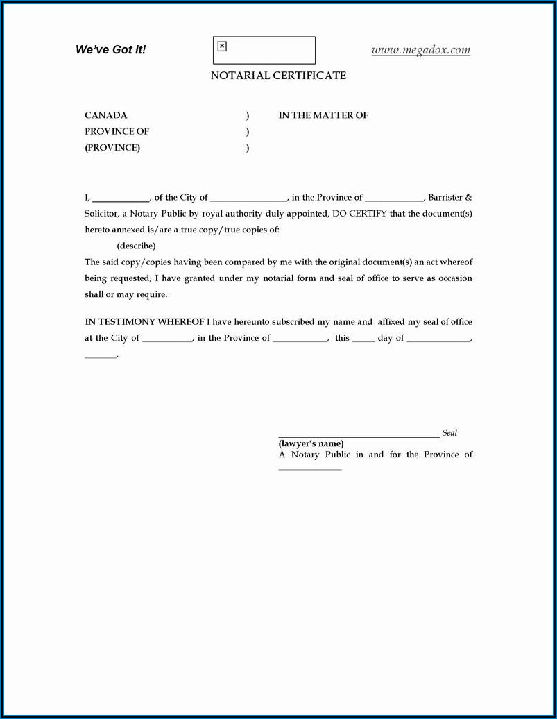 Free Notary Acknowledgement Form