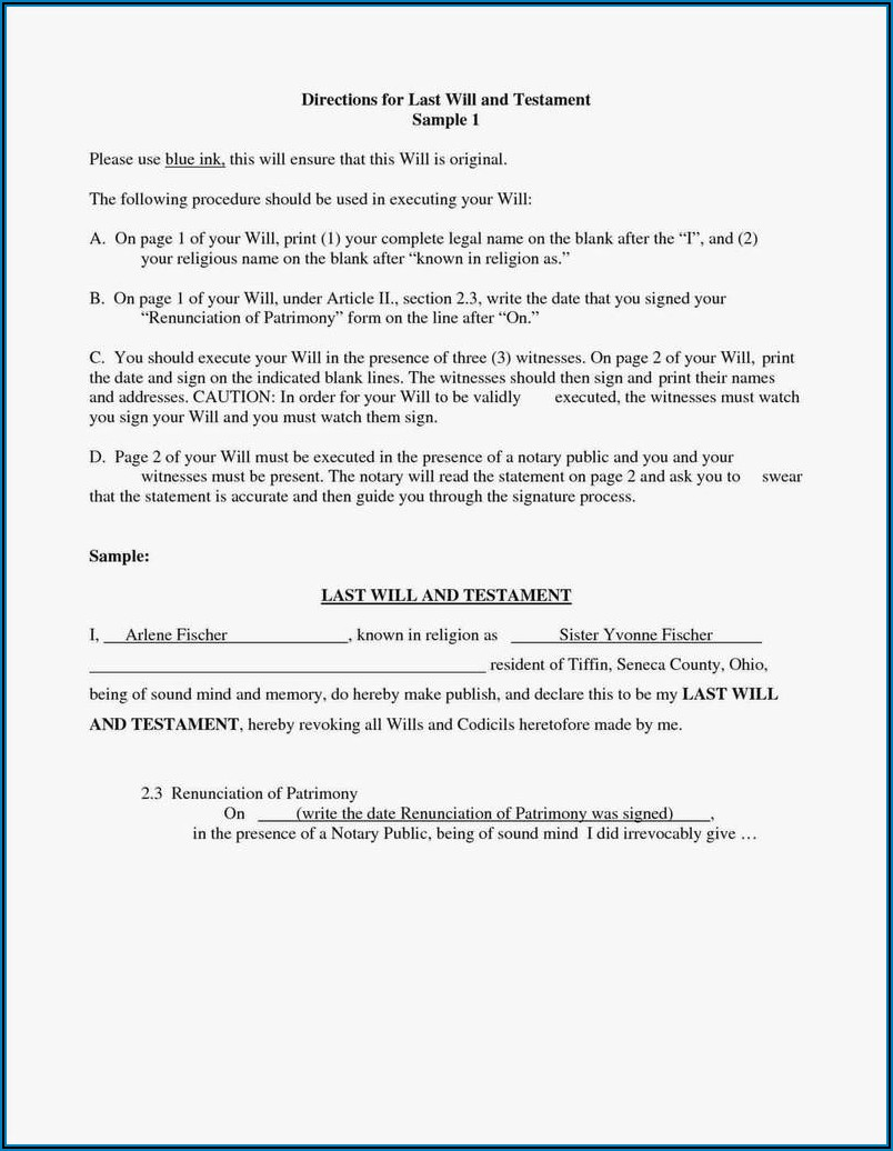 Free Ohio Last Will And Testament Form Pdf