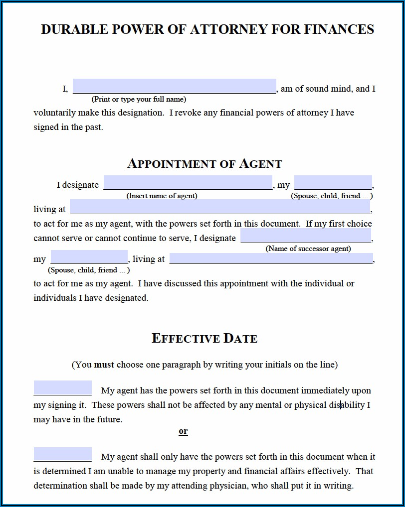 Free Printable Blank Durable Power Of Attorney Form