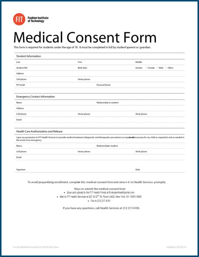 Free Printable Child Medical Consent Form For Grandparents Notarized