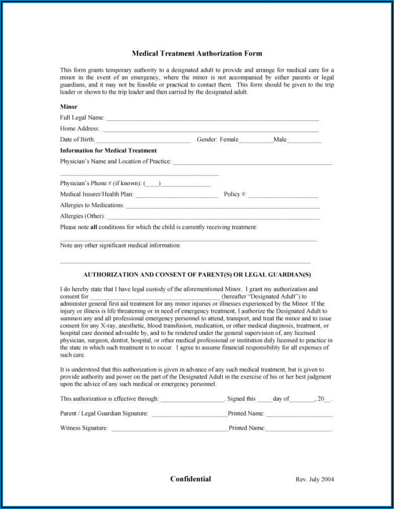 Free Printable Child Medical Consent Form For Grandparents Pdf