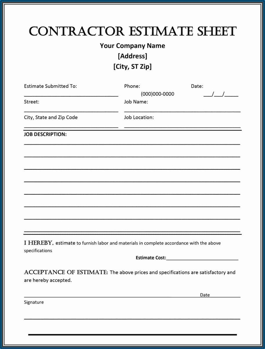Free Printable Estimate Forms For Contractors
