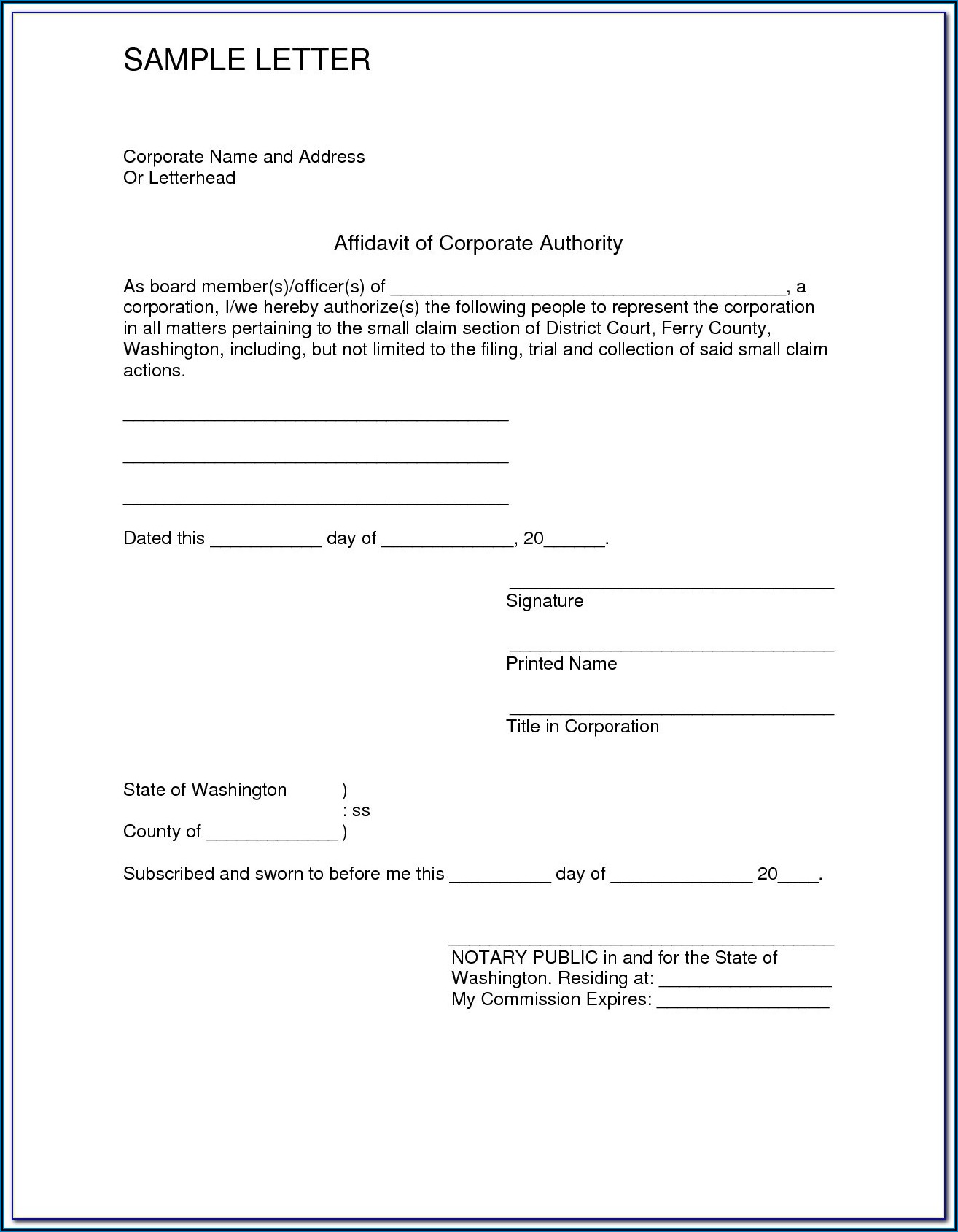 Free Printable General Affidavit Form