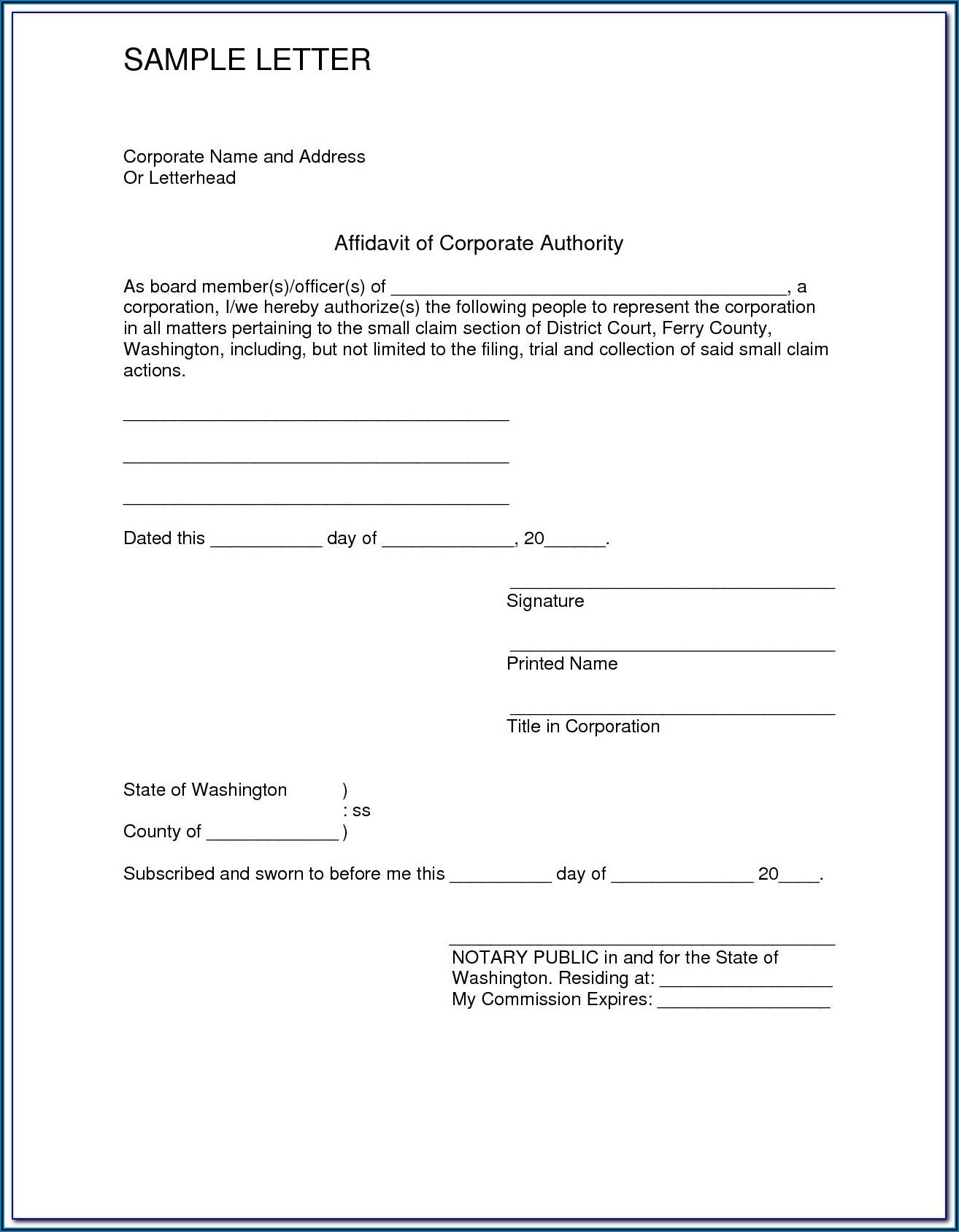 Free Printable General Affidavit Form
