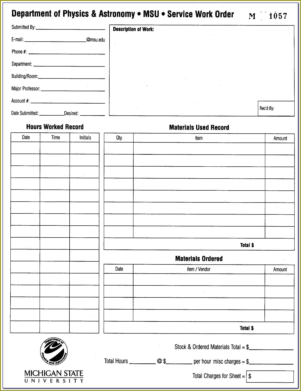 Free Printable Maintenance Work Order Forms