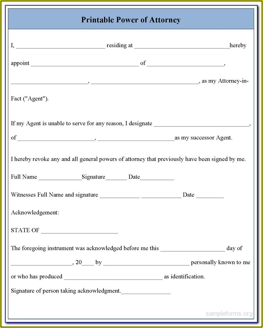 Free Printable Medical Power Of Attorney Forms Florida