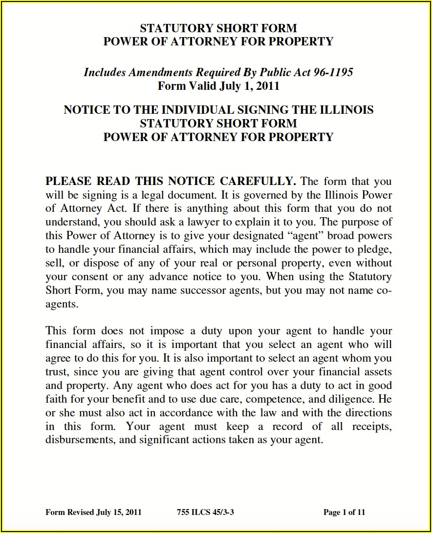 Free Printable Power Of Attorney Form Illinois