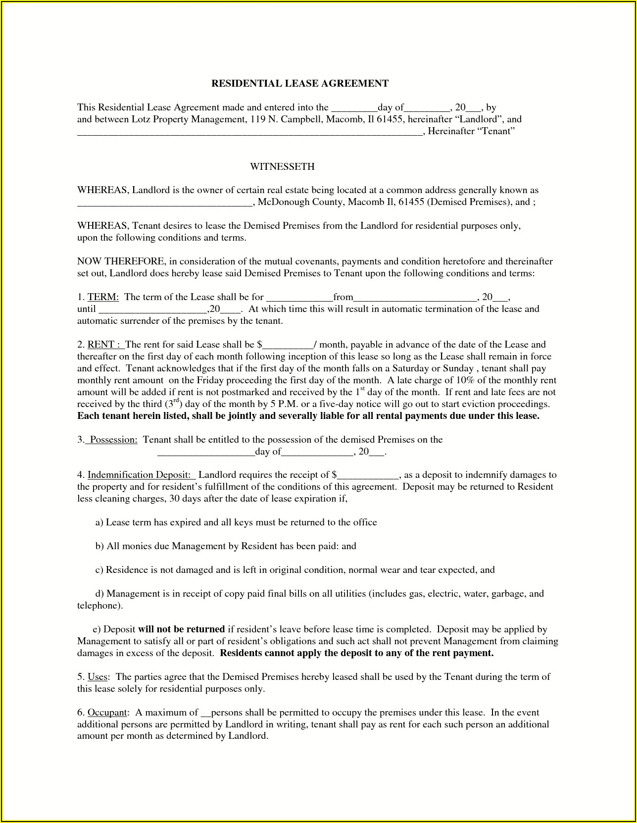 Free Printable Residential Lease Forms