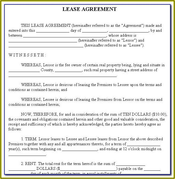 Free Rental Agreement Form Texas