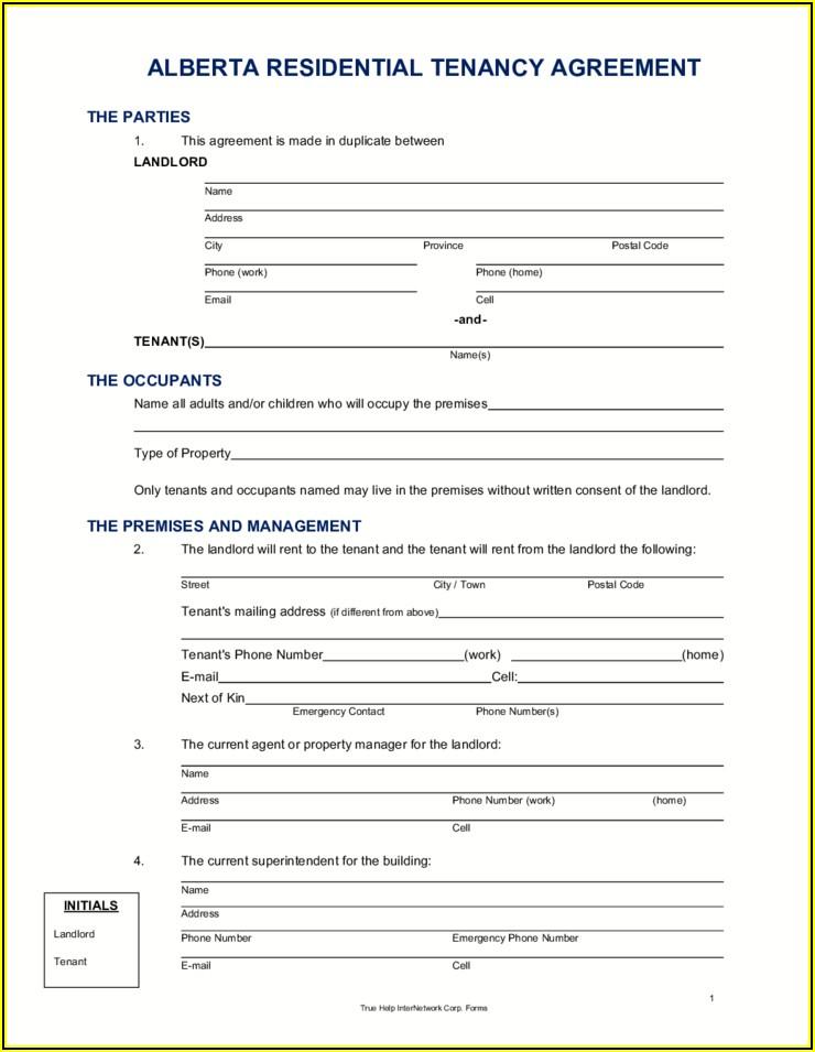 Free Rental Application Form Alberta