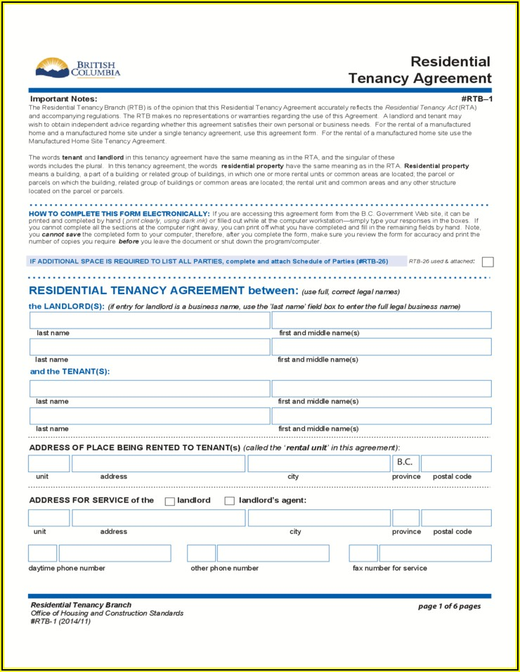 Free Rental Application Form Bc