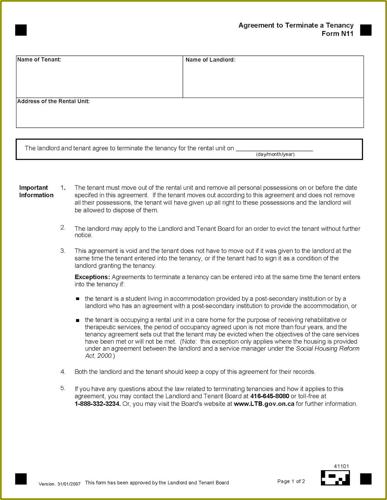 Free Rental Application Form Ontario