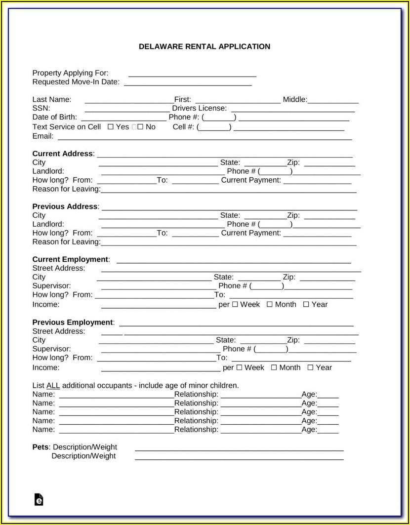 Free Rental Application Form Utah