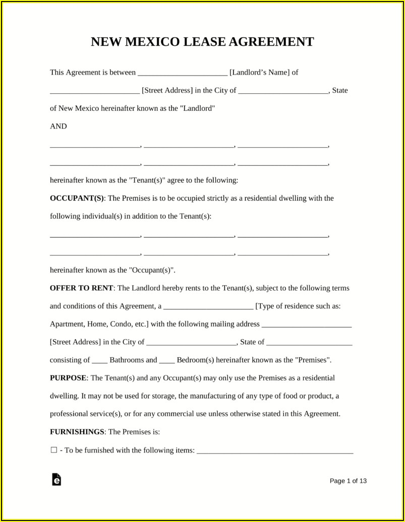 Free Residential House Lease Agreement Form