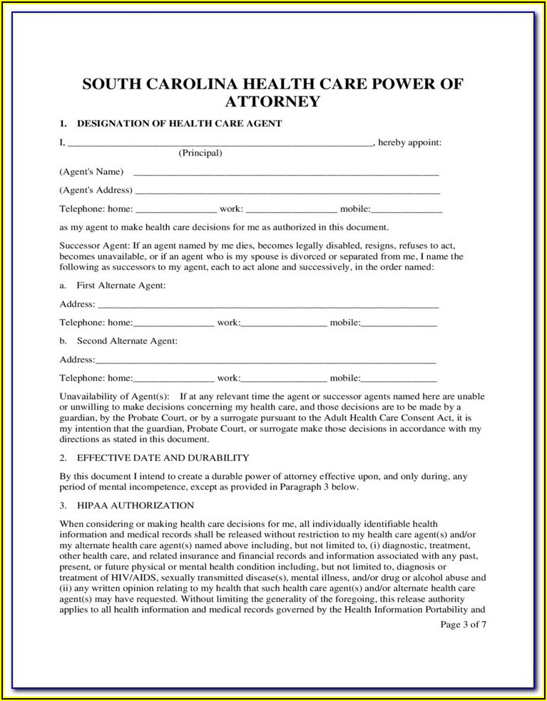 Free Sc Medical Power Of Attorney Form