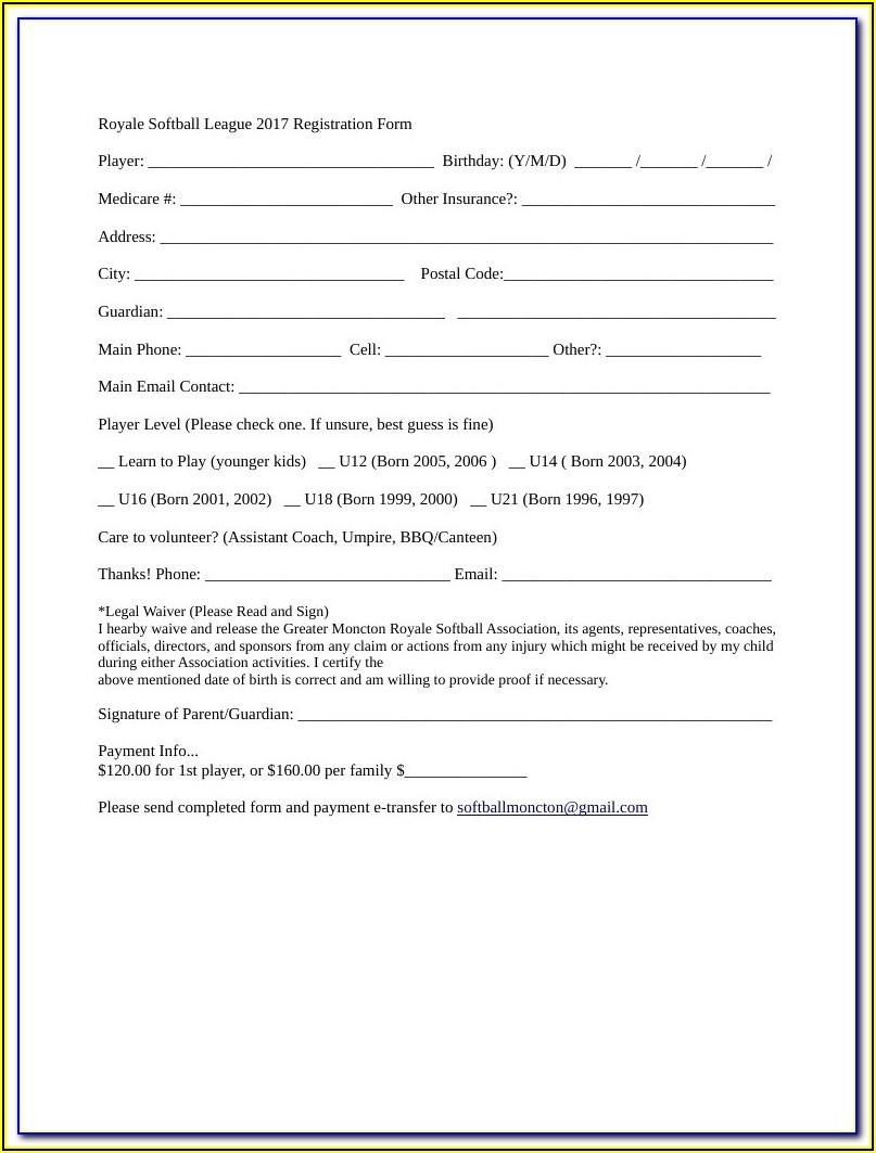 Free Softball Registration Form Template
