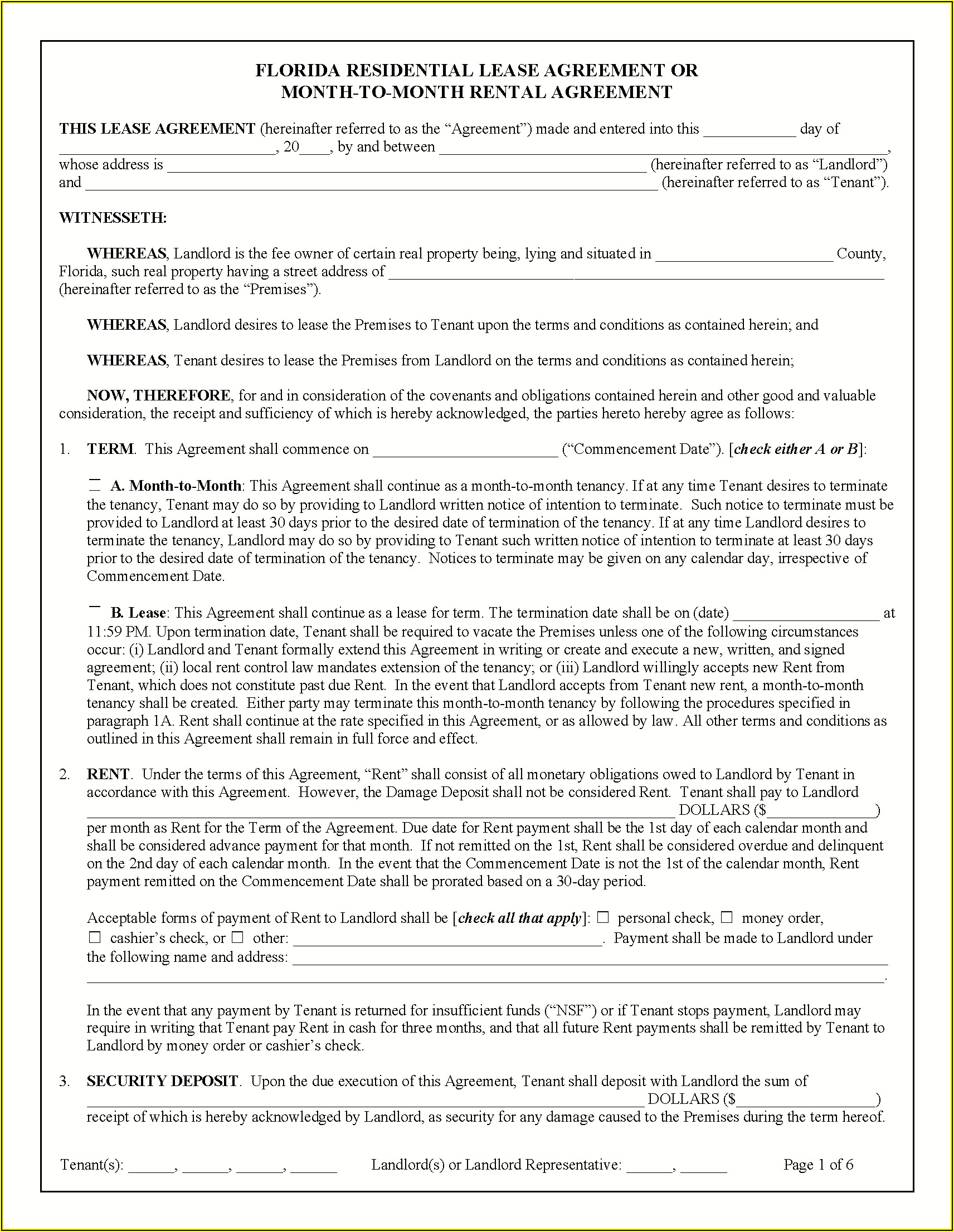 Free State Of Florida Lease Agreement Form