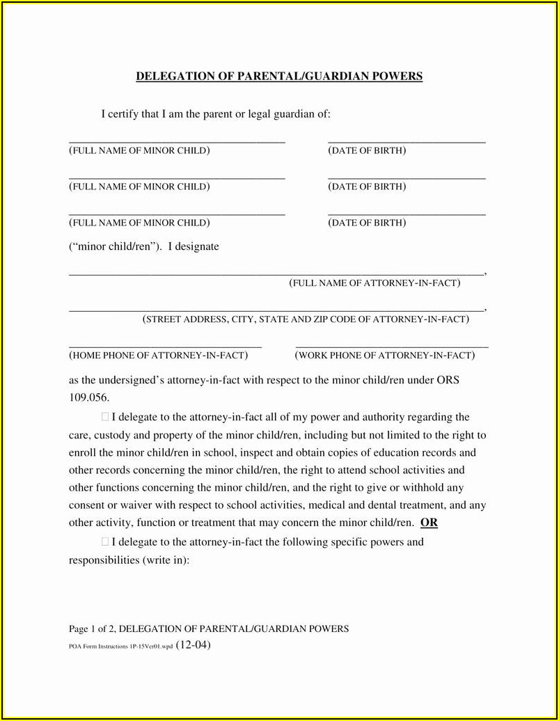 Free Temporary Custody Form Texas
