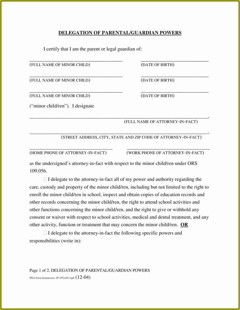 Free Temporary Custody Form Texas