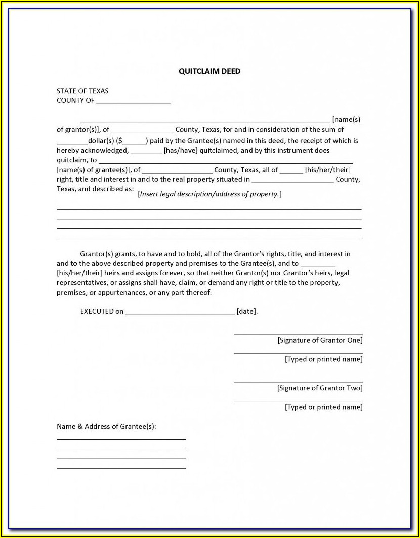 Free Texas Contract For Deed Form