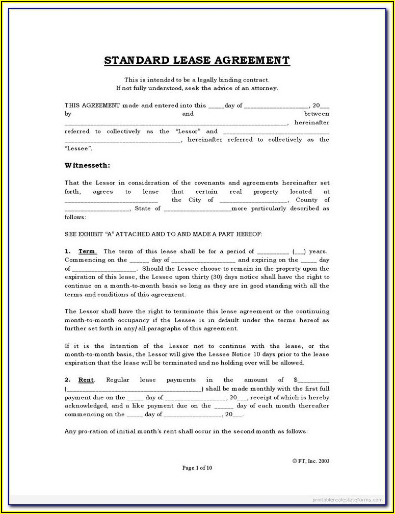 Free Texas House Rental Agreement Form