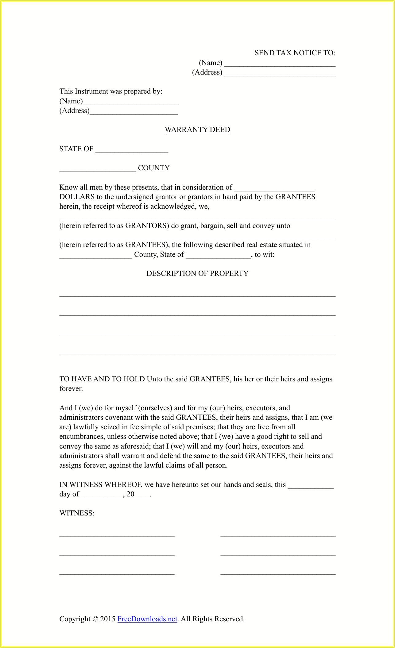 Free Warranty Deed Template Texas