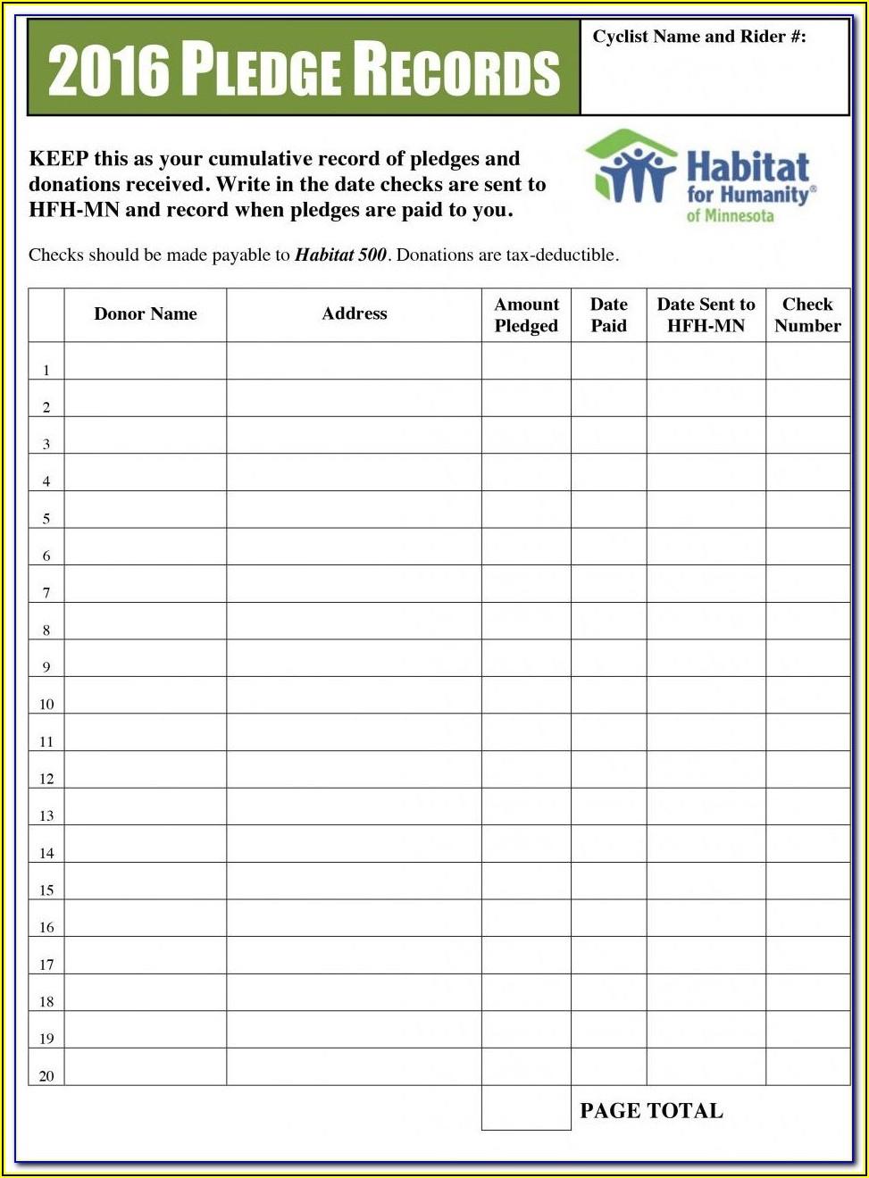 Fundraising Pledge Form Template