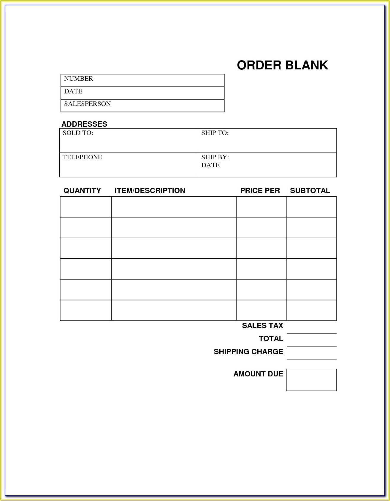 Garage Work Order Forms