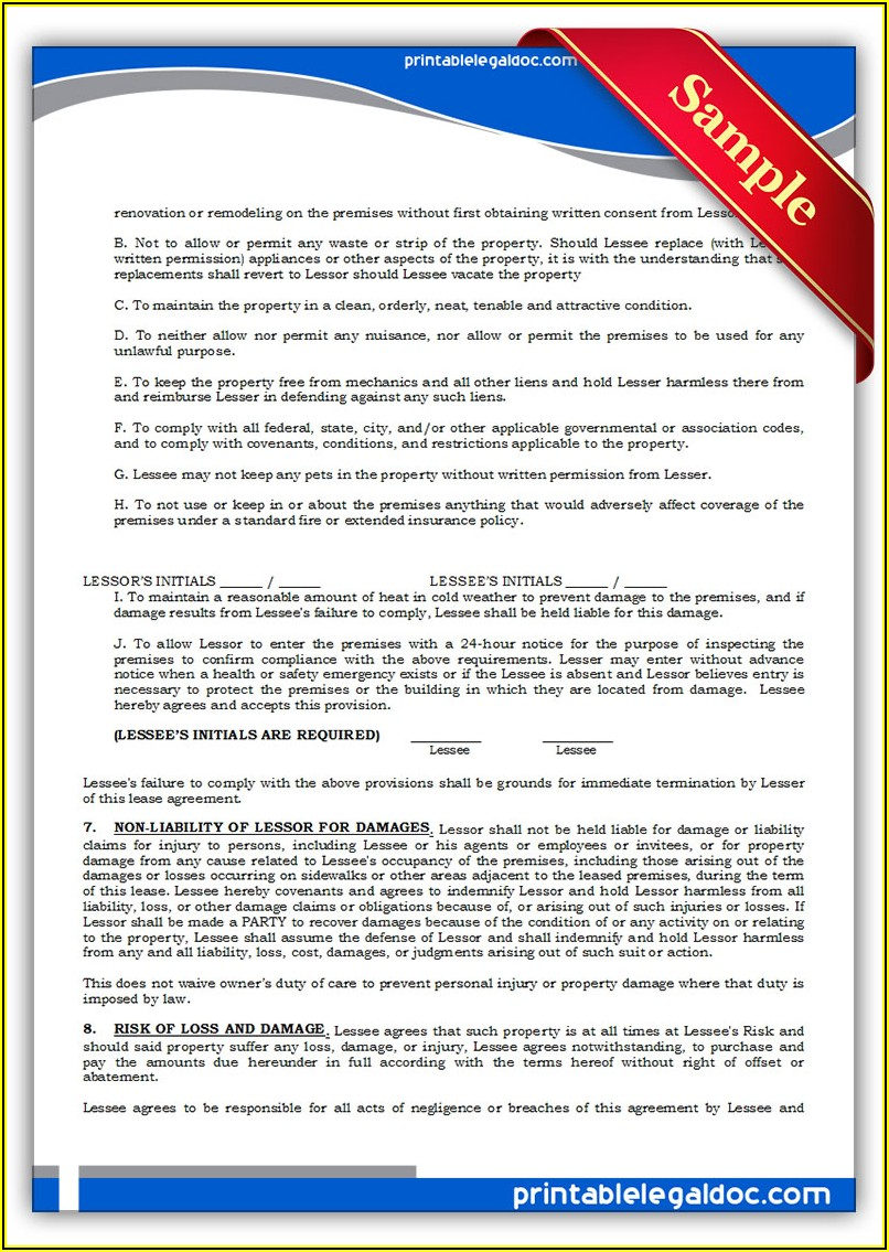 Generic Lease Agreement Form