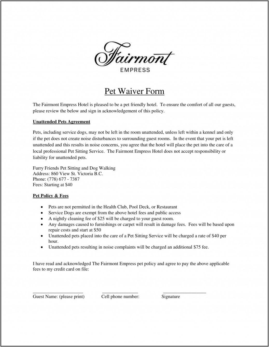 Generic Sports Waiver Form