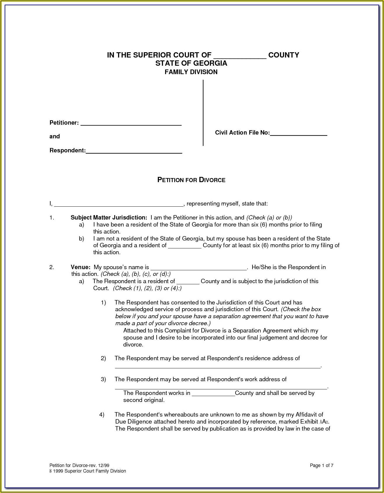 Georgia Contested Divorce Forms Pdf