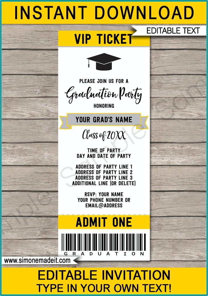 Graduation Ticket Template Printing