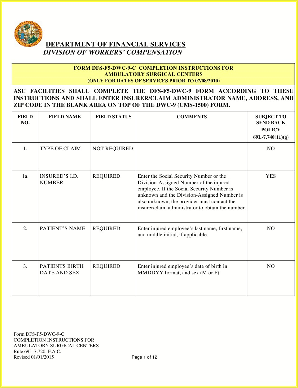 Health Insurance Claim Form Cms 1500 Instructions