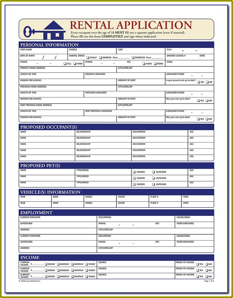 House Rental Application Form Free Download